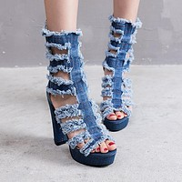 Fashion hot boots women new sexy high heel hollow waterproof platform zipper Jean boots