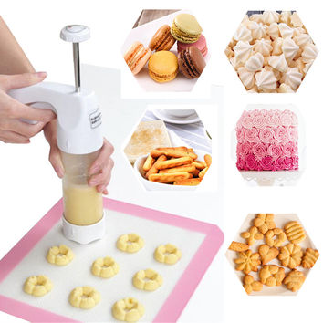 Baking pastry Tools Cookie Mold Press Gun 12 Flower Mold + 6 Pastry Tips biscuit cookie cutter DIY cake Cookie making machine