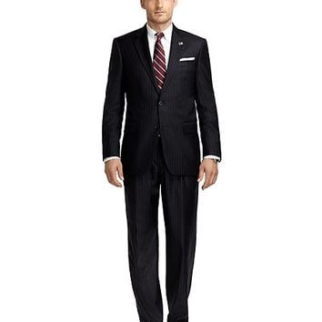Madison Fit Saxxon™ Wool Blue and White Alternating Stripe 1818 Suit - Brooks Brothers