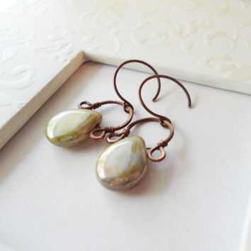 Picasso pears, lustrous czech glass bohemian dangle earrings, hand forged oxidized copper, hammered jewelry, rustic wire wrapped