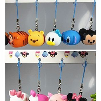 Disney Tsum Tsum Set of 10 Keychain Squishy Figure Toys