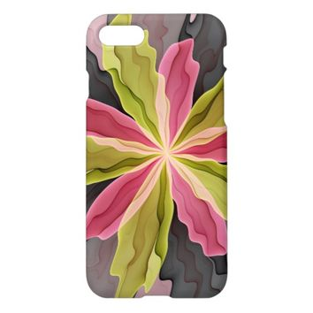 Joy, Pink Green Anthracite Fantasy Flower Fractal iPhone 7 Case