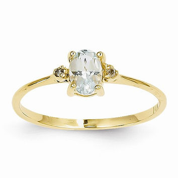 14k Yellow Gold Diamond Aquamarine Ring