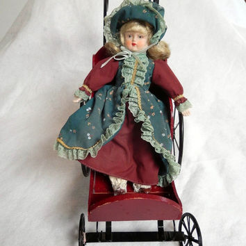 Wooden Doll Carriage with 11 Inch Doll