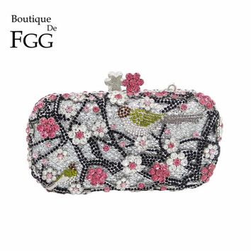 Flower & Bird Crystal Women Evening Bags Silver Clutch Metal Miniaudiere Bridal Wedding Clutches Party Purses Shoulder Handbags