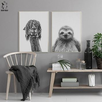 Nordic Alpaca Canvas Art Prints and Posters Decorative, Wall Art Sloth Paintings Picture for Kids Bedroom Home Decor