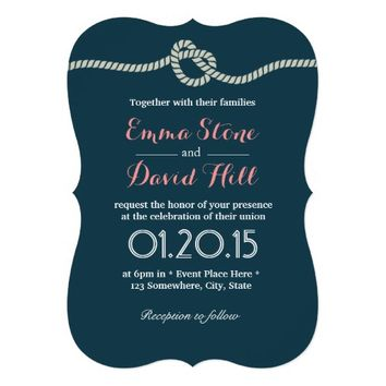 Navy Blue Tying the Knot Wedding Invitations