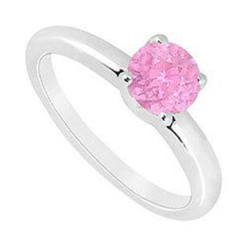 Pink Topaz Ring : 14K White Gold - 1.00 CT TGW