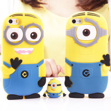 3D Cartoon Despicable Me Yellow Minions Case Cover Soft Silicon Material Phone Case For iPhone 7 Plus 4 4S 5 5S SE 5C 6 6S Plus