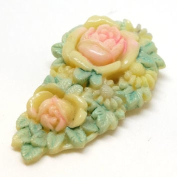 Vintage Celluloid Dress Clip / Fur Clip Ivory Color Molded Rose Flowers Dyed Pastel Pink Green Art Deco 1930s 40s Japan