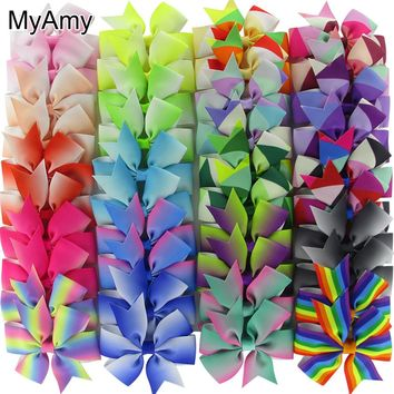 MyAmy 40pcs/lot 3'' Grosgrain Ribbon Boutique Hair bows WITH Alligator Clips Pinwheel Rainbows Bow For Girls kids hairbow