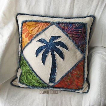 Quilted patchwork palm tree boho pillow cover, with navy, greens and orange batik and natural denim 18""