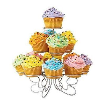 Metal Cupcake Holder Stand, 11 Cupcakes, 3 Tier, 8-inch