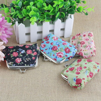 Coin Pures Wallet For Women's Handbag Vintage Flower Retro Wallet Visiting Card Holder Purse For Coins Kids Clutch Money Bag