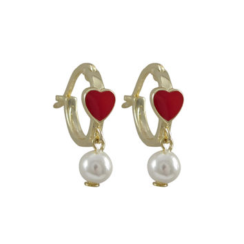 Red Enamel 4.5x5mm Heart On Gold Plated Sterling Silver Baby Huggie Leverback Earrings, With Hanging 4mm White Pearl, 0.44