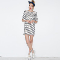 Floral Striped Short Sleeve Mini Dress