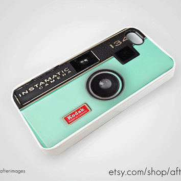 Mint Vintage Camera Instamatic iPhone 5 4 4S Case by afterimages