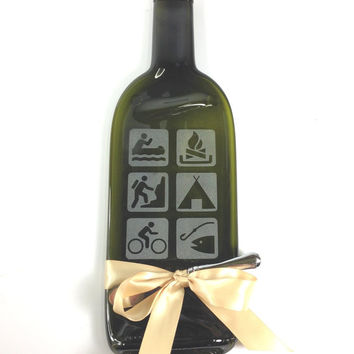 Etched Melted Bottle Cheese Tray with Outdoors, Camping, Fishing, Hiking, Biking Swimming Theme