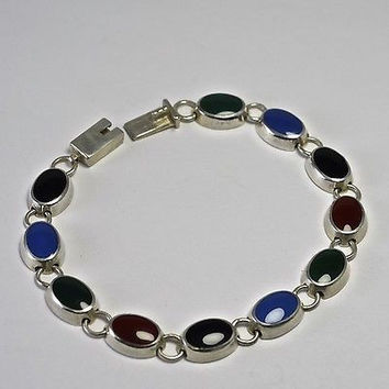 Vintage Sterling Silver Bracelet With Onyx and Chalcedony 925 Southwestern