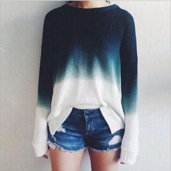 Gradient sweater Foreign trade new autumn fashion Blue white