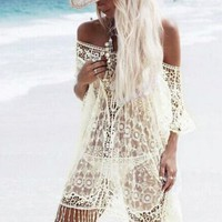 Hollow Crochet Lace Tassels Smock Shirt Top Tee