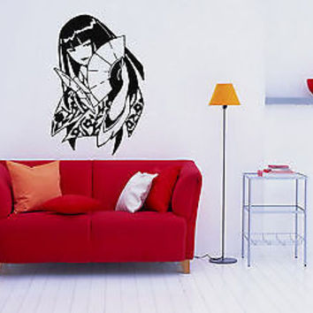 ANIME JAPANESE GIRL GEISHA MANGA WALL VINYL STICKER MURAL ART DECAL D534