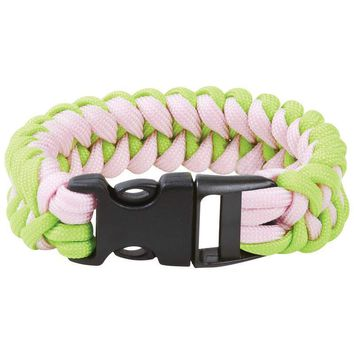 """8"""" Fluorescent Green and Pink Paracord Bracelet"""
