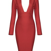 Honey Couture CLEO Red Long Sleeve Plunge Neck Midi Dress