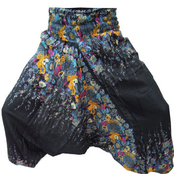 Black Harem Pants- Baggy Loose Genie Harem Pants Trouser jumpsuit Yoga Boho Gypsy Indian women Ladies Alibaba Flower Printed Pants