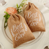 Best Day Ever Burlap Favor Bags (Set of 12)