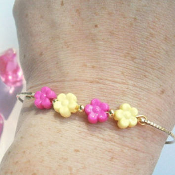 Flower Bangle Bracelet - Nature Jewelry - Beaded Bangles - Hot Pink and Yellow - Colorful Bracelets - Spring Jewelry - Gift for Girls