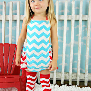 Chevron Blue & Red Baby Bubble Ruffle Romper Sun Suit