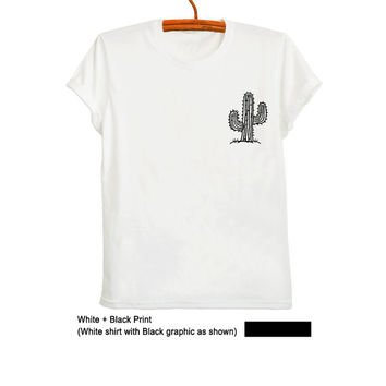 Cactus Shirt Succulent Plant T Shirt White Pocket Tee Trendy Top Tumblr Hipster Teen Fashion Womens Mens Unisex Clothes Fangirl Hype Merch