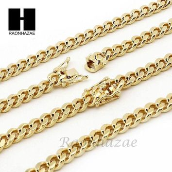 DCCKH7E 14k Gold Finish Heavy 6mm Miami Cuban Link Chain Necklace Bracelet Various Set C