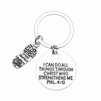 Cross Country Keychain - I Can Do All Things Through Christ Who Strengthens Me