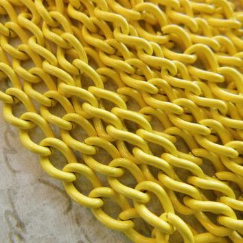 3 feet vintage yellow enameled chain approx 4 x 5mm links unsoldered (one yard)