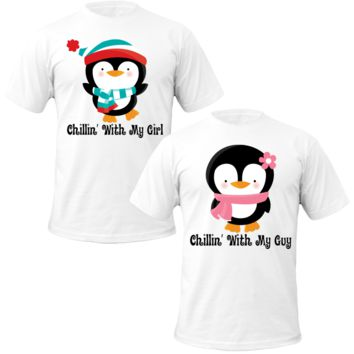penguins says chillin with my girl\guy Couple Tshirts
