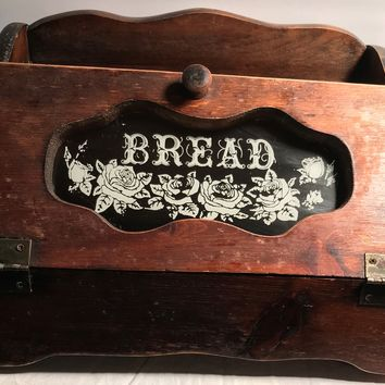Bread Box Painted Glass Front Vintage Wood