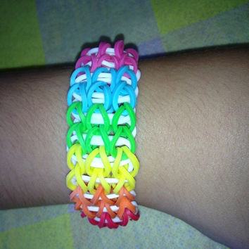 Rainbow color tripple rainbow loom bracelet by tashisbracelets