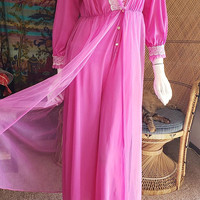 60's Chiffon Jumpsuit Robe, Fuchsia Loungewear, Palazzo Pant Lingerie, Lace Fuchsia Hostess Gown, I Dream of Jeannie, Romantic Pant Robe, MD