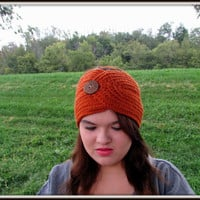 Orange Ear Warmer, Pumpkin Spice Headband, Head Warmer, Button Headband, Crochet Headwrap, Fall Accessories, Women's,