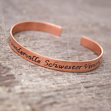personalized bangle bracelet , copper bracelet, friendship copper bracelet, your dedication