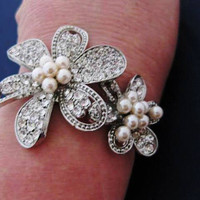 $44.99   WEDDING BRACELET, Bangle with stunning CRYSTALs, pearls and RHINESTONES - Wrist Corsage