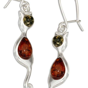 STERLING SILVER MULTICOLOR BALTIC AMBER KITTY CAT EARRINGS