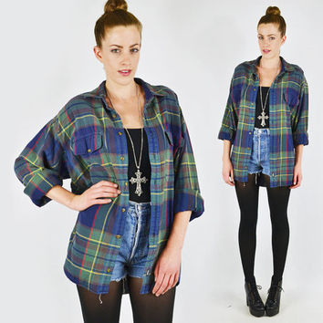vtg 90s grunge revival blue green tartan PLAID print FLANNEL slouchy OVERSIZED button up shirt top S M L