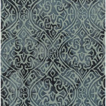 Belladonna Medallion and Damasks Area Rug Blue, Green