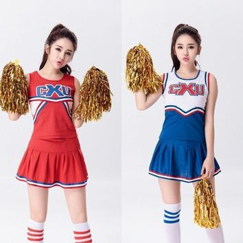 8d914a6c0 Baseball Football Cheerleading Glee Costume Aerobics Clothing Uniforms for  Performances Sleeveless Dress Size S M L XL XXL
