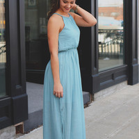 Hello Beautiful Maxi Dress - Dusty Blue