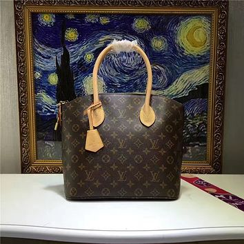 LV Louis Vuitton WOMEN'S MONOGRAM LEATHER LOCKIT HANDBAG