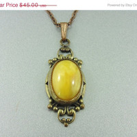 SALE - Awesome Art Deco Antique Buttercup Yellow Swirly Glass Necklace. Like sunshine..Vintage Jewelry.